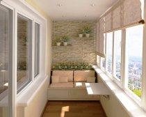 Балкон з обробкою декоративним каменем зсередини